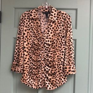 INC Animal Print Ruched Top Rhinestone Buttons